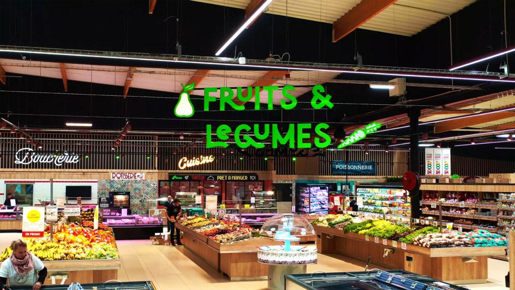 enseigne suspendue fruits et légumes