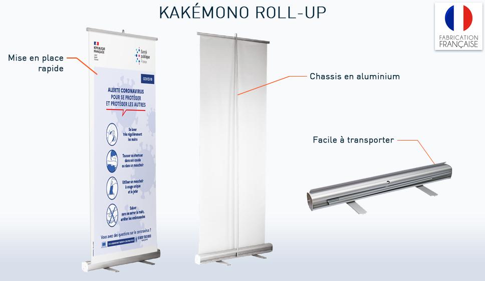 kakemono roll up avec impression numérique des consignes de sécurité covid-19