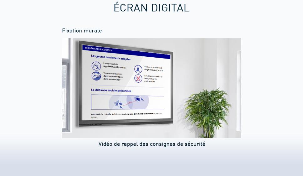 écran vidéo mural consignes de sécurité covid-19