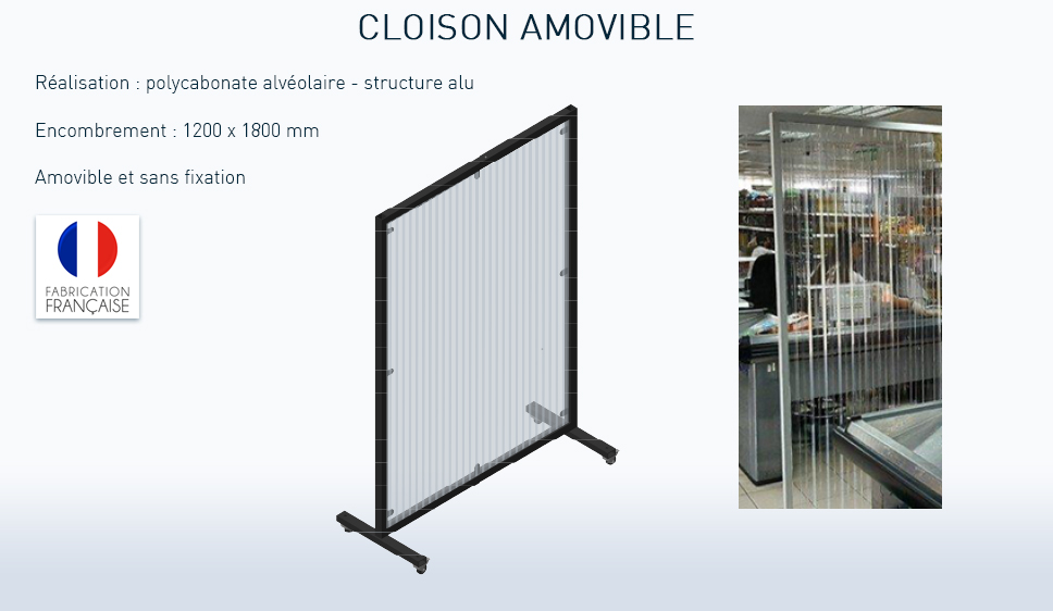 cloison mobile anti contamination covid-19